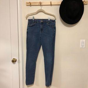 Topshop blue denim skinny jeans size 34